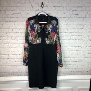 Nicole by Nicole Miller Floral & Black Shirt Dress